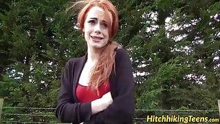 Gorgeous redhead Ella hughes gets fucked on the public road