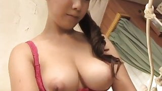 Momo Aizawa shakes big cans while is fucked in hairy cooshie